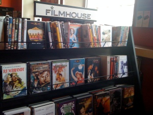 Selection of DVDs available for sale in Filmhouse foyer